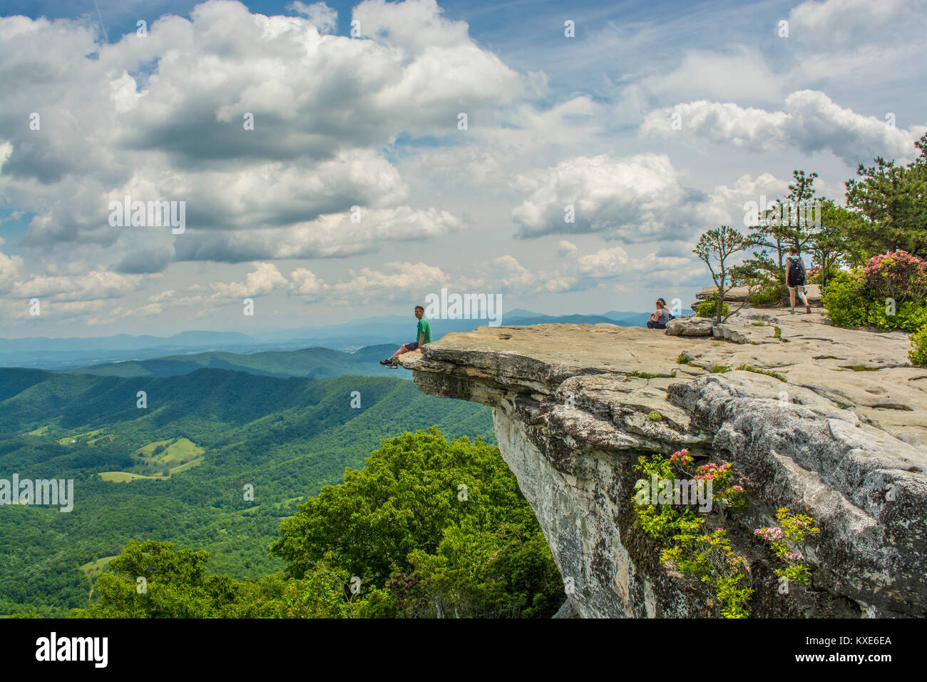 Hiking McAfee Knob Appalachian Trail - Stock Image
