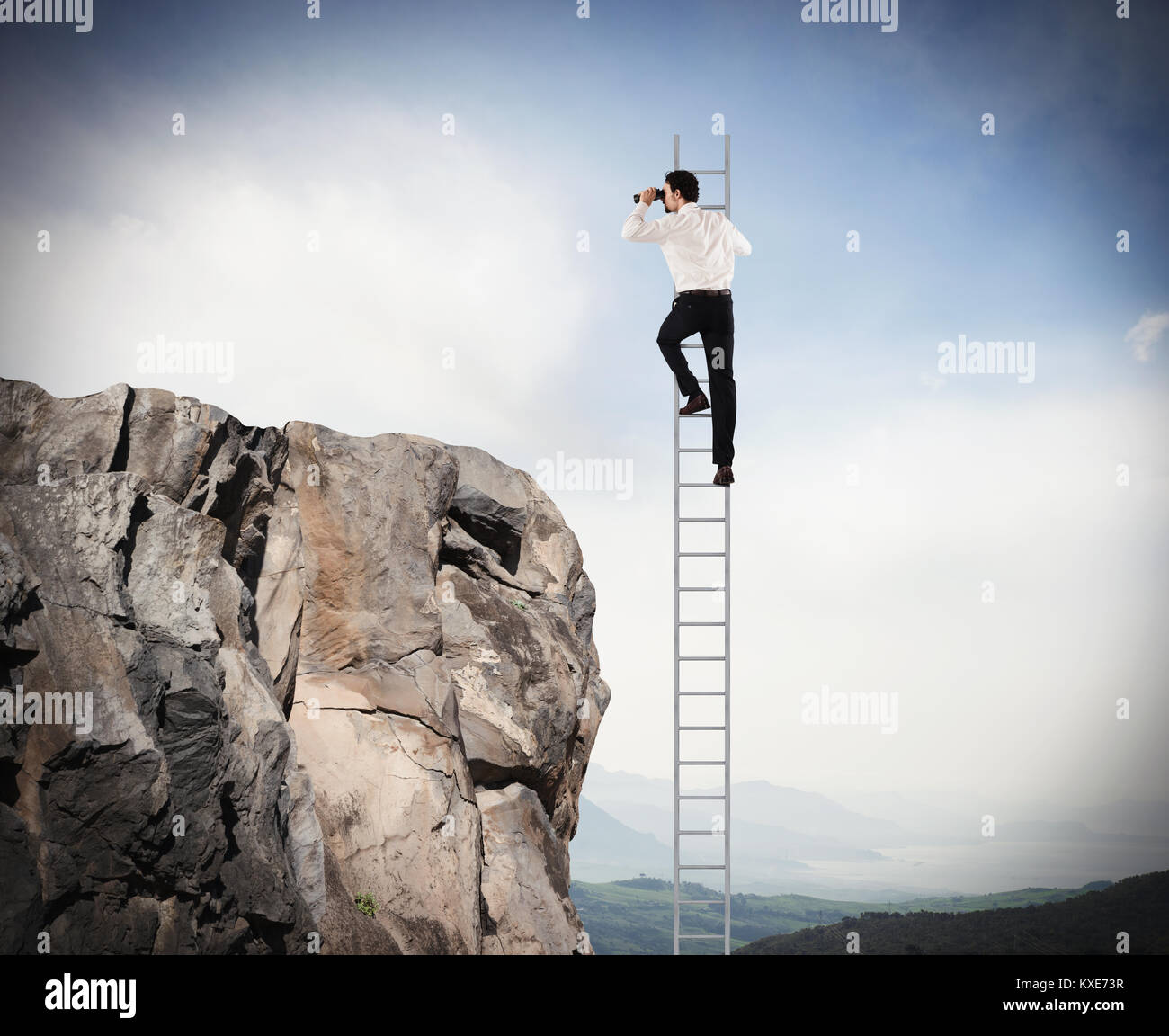 Manager looks far for new business. Concept of new opportunities - Stock Image