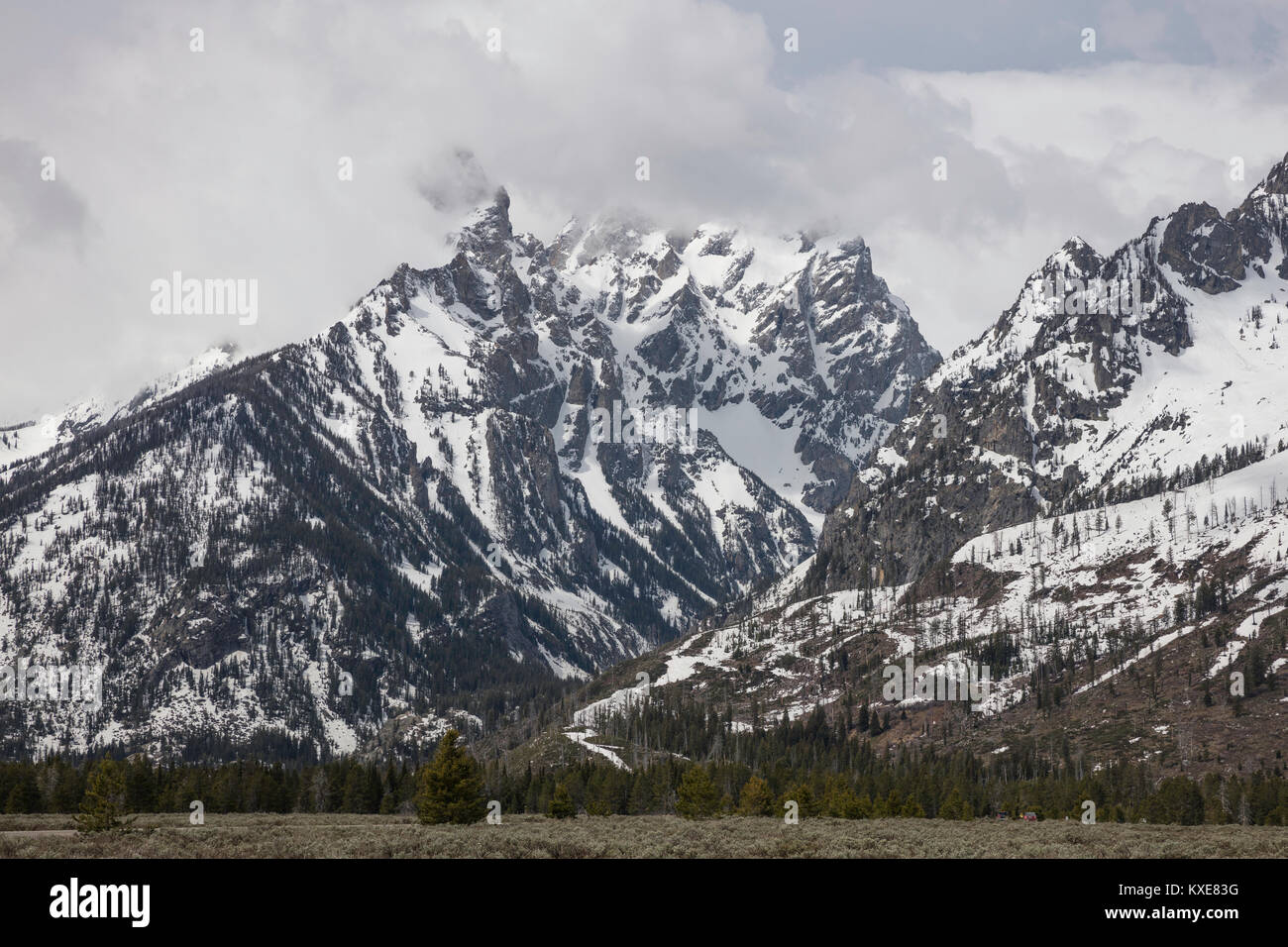 The Cathedral Group, Mountain View Turnout, Grand Teton National Park, Wyoming - Stock Image