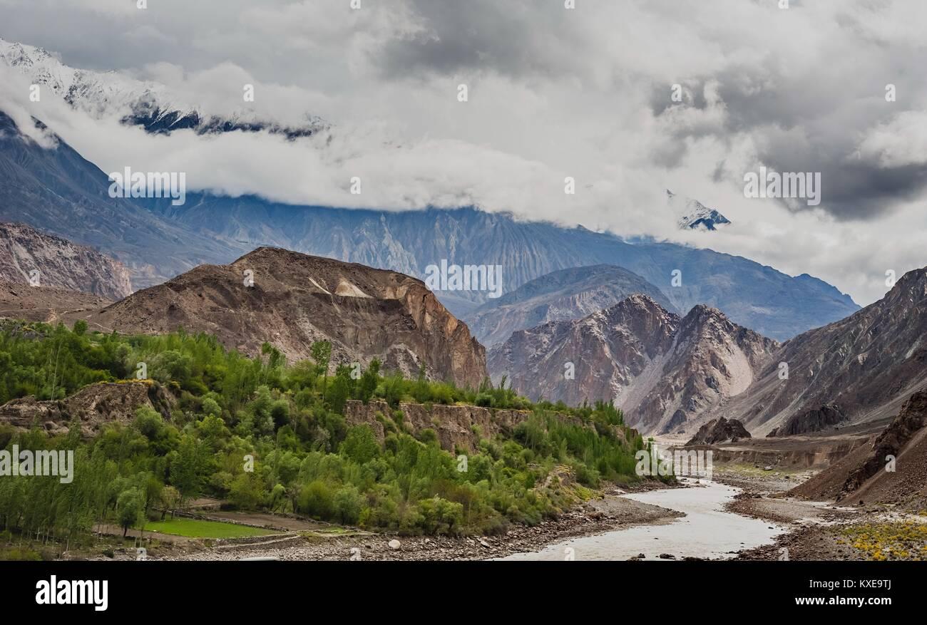 beautiful Landscape of Hunza Valley in Autumn season. Northern Area of Pakistan - Stock Image