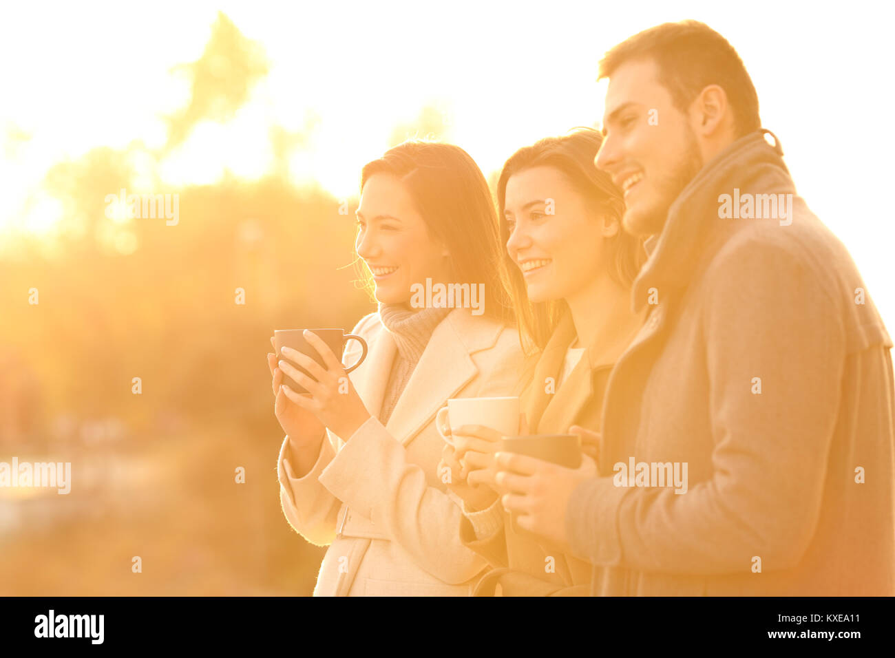 Three happy friends looking away at sunset in a park in winter - Stock Image
