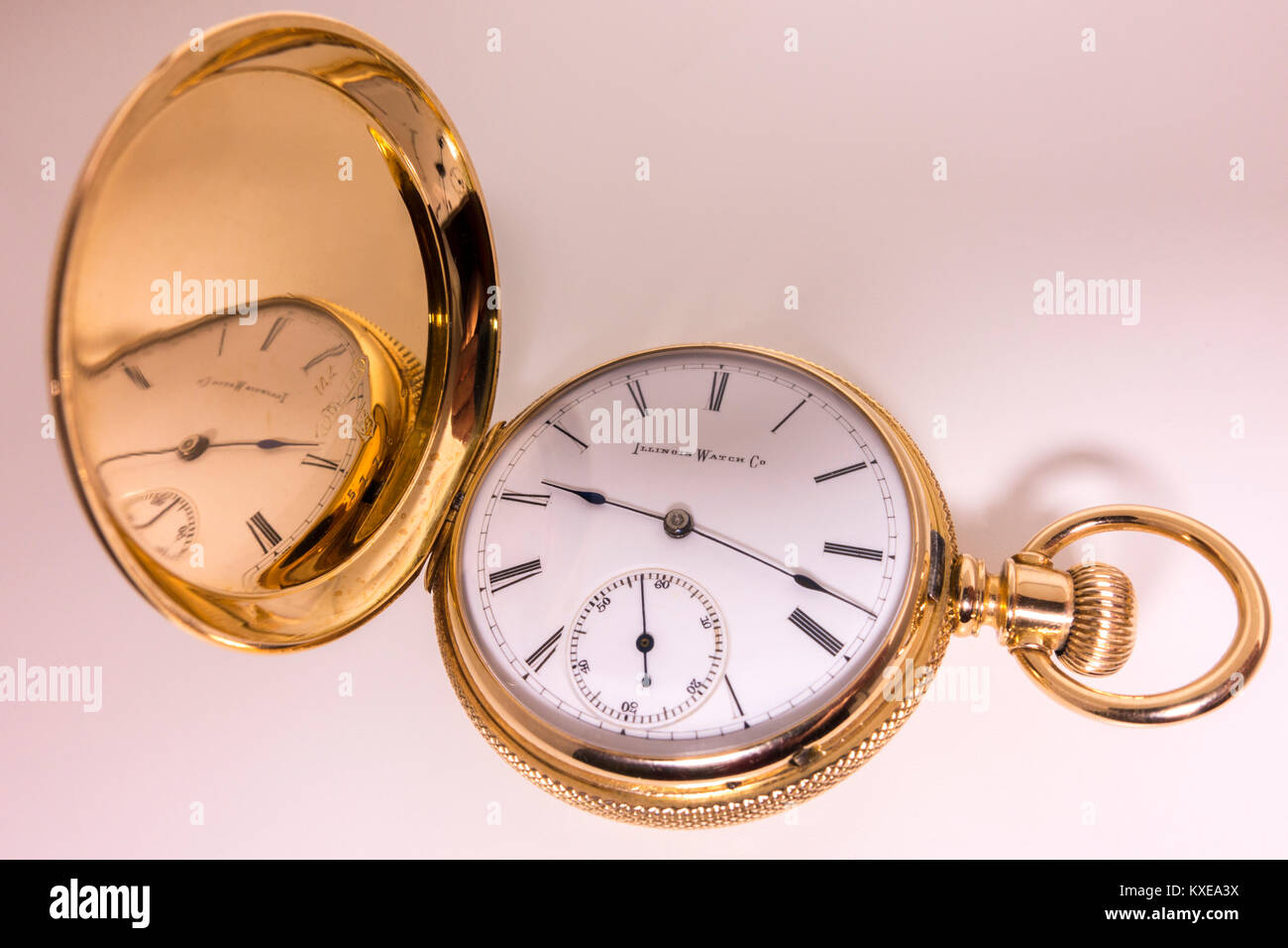 Solid gold pocket watch (14 karat), manufactured by the Illinois Watch Company in Springfield USA, late 1800s. Ladies' - Stock Image