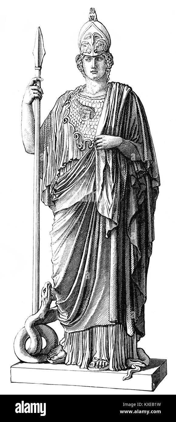 Statue of the goddess Pallas, Athena Giustiniani, ancient Greek religion - Stock Image