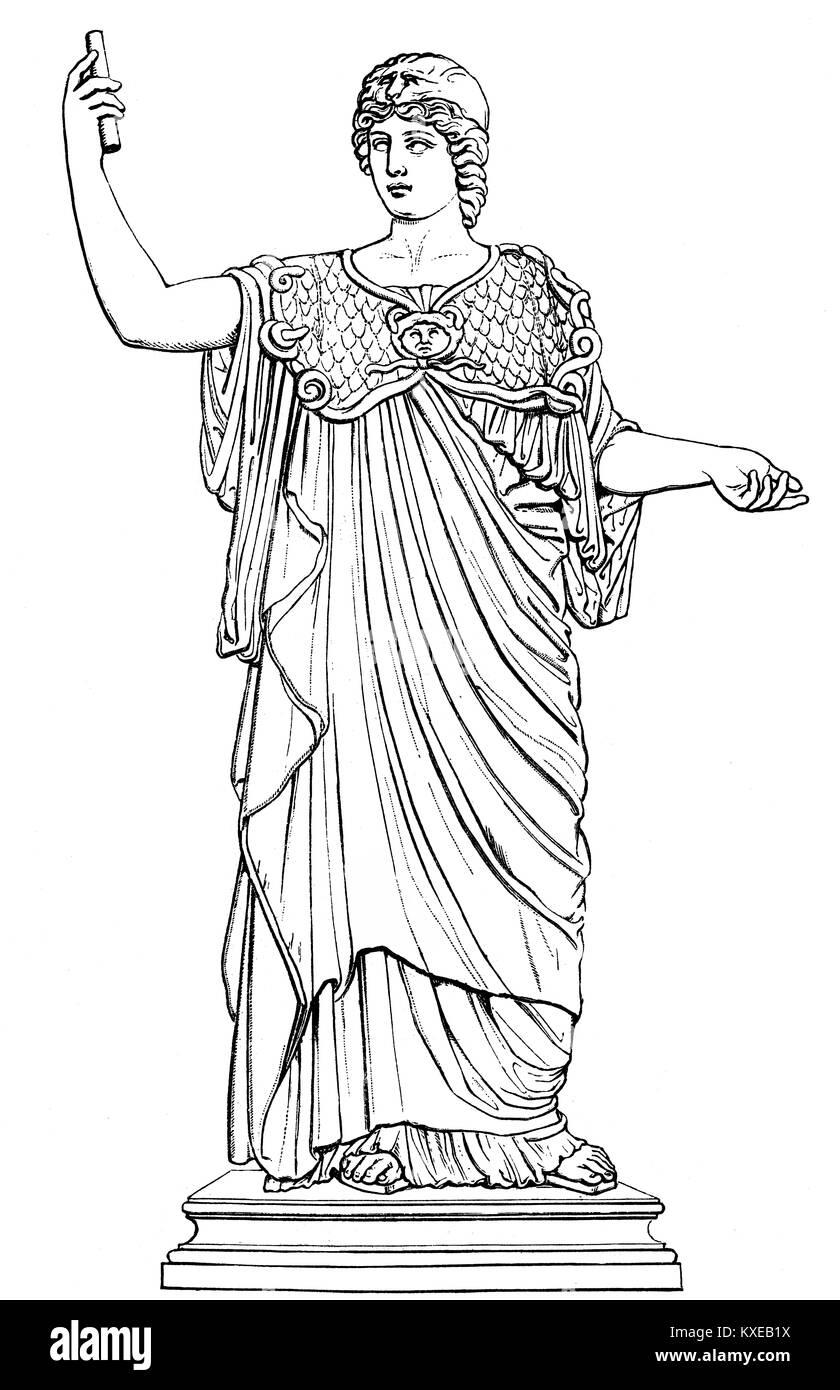 Statue of Athena Polias, the patron deity of the city of Athens, ancient Greek religion - Stock Image