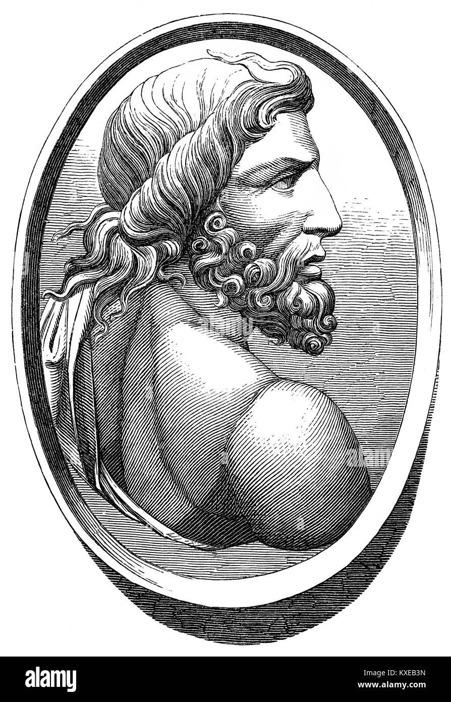 Poseidon, God of the seas, earthquakes, and tidal wave - Stock Image