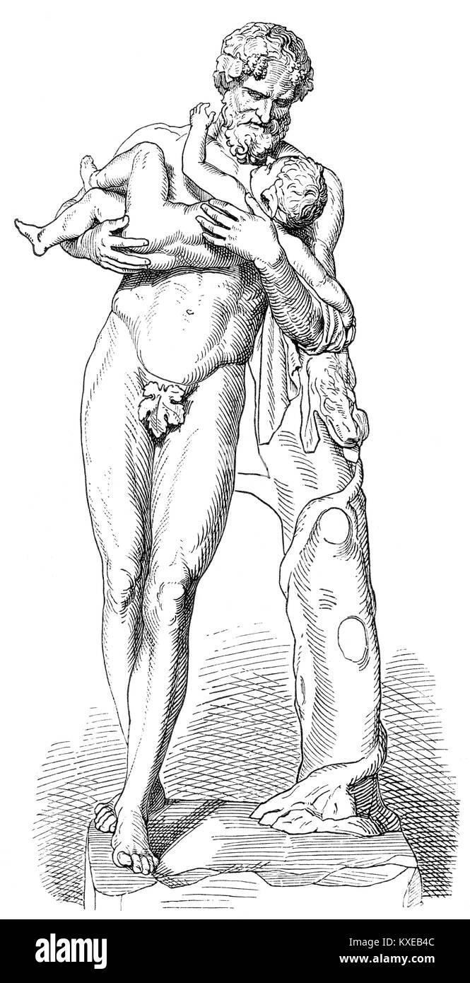 Silenus, a companion and tutor to the wine god Dionysus - Stock Image