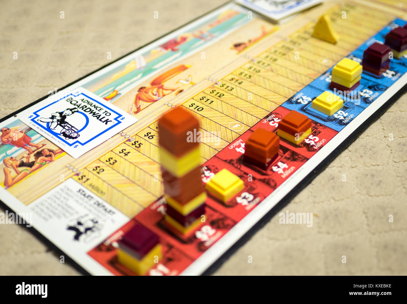 The game board of Advance to Boardwalk, a 1985 spin-off of the Parker Brothers board game, Monopoly. - Stock Image