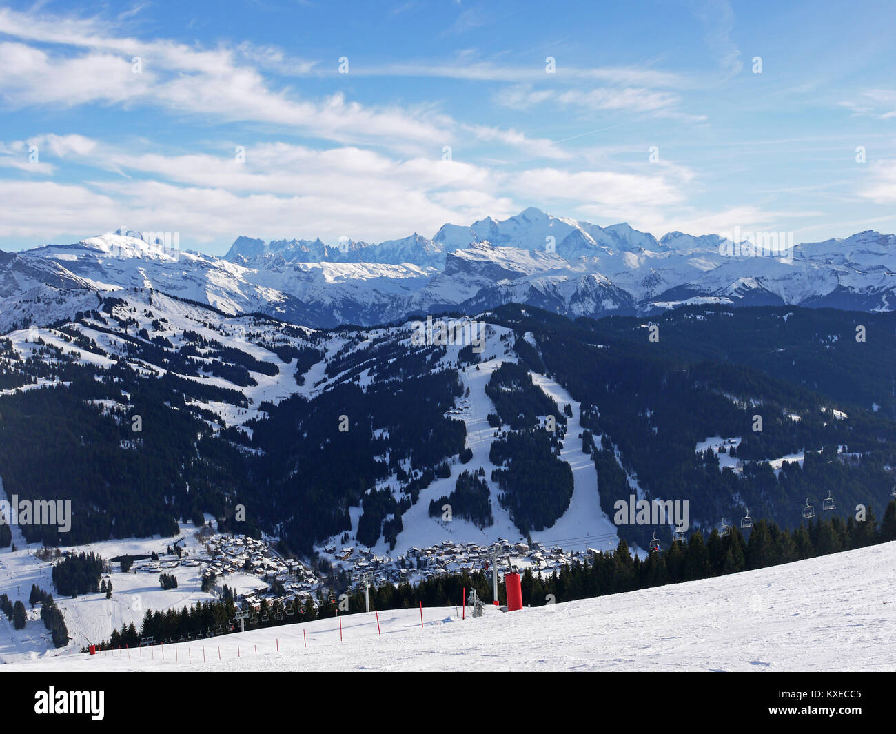 General view of the ski resort of Les Gets France showing the satellite village of La Turche and its trails Stock Photo