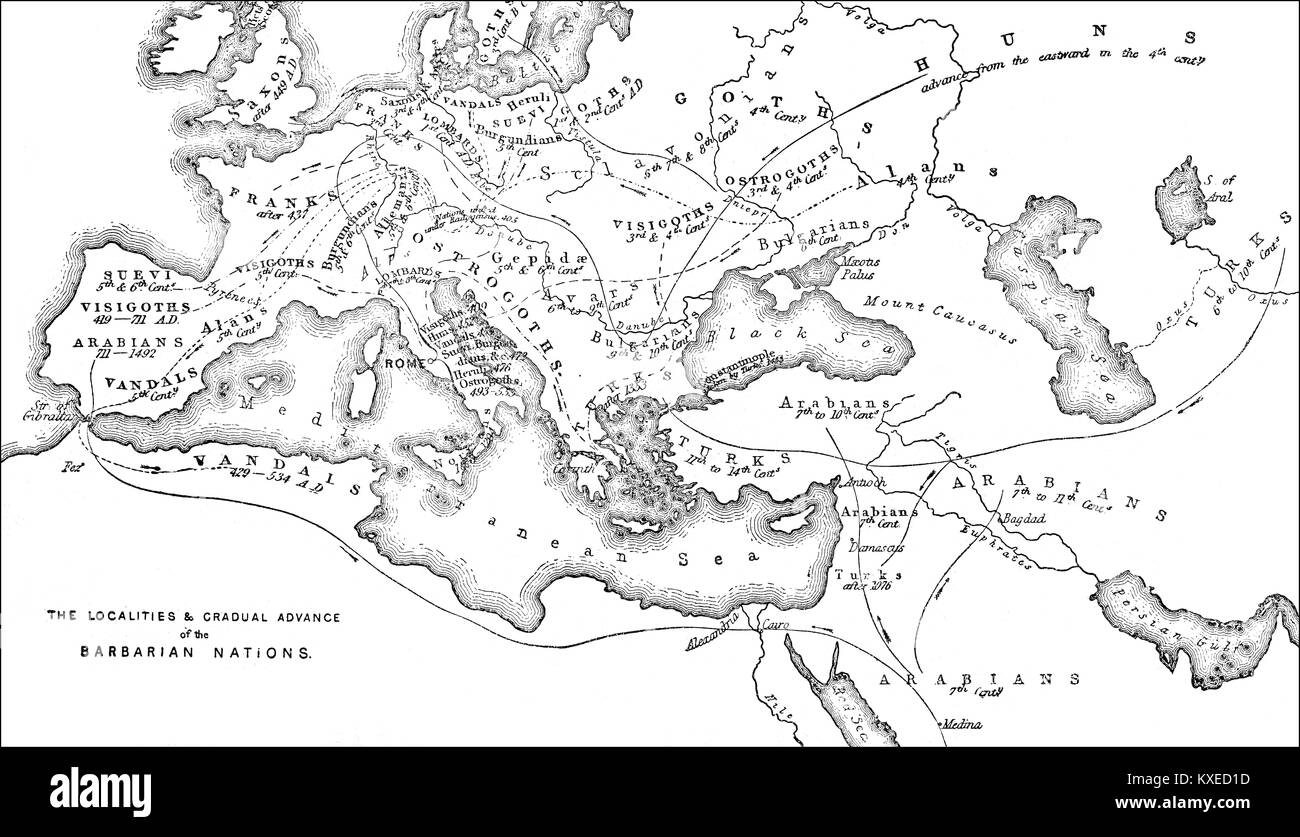 Historical map of the origin or occupation of the barbaric nations - Stock Image