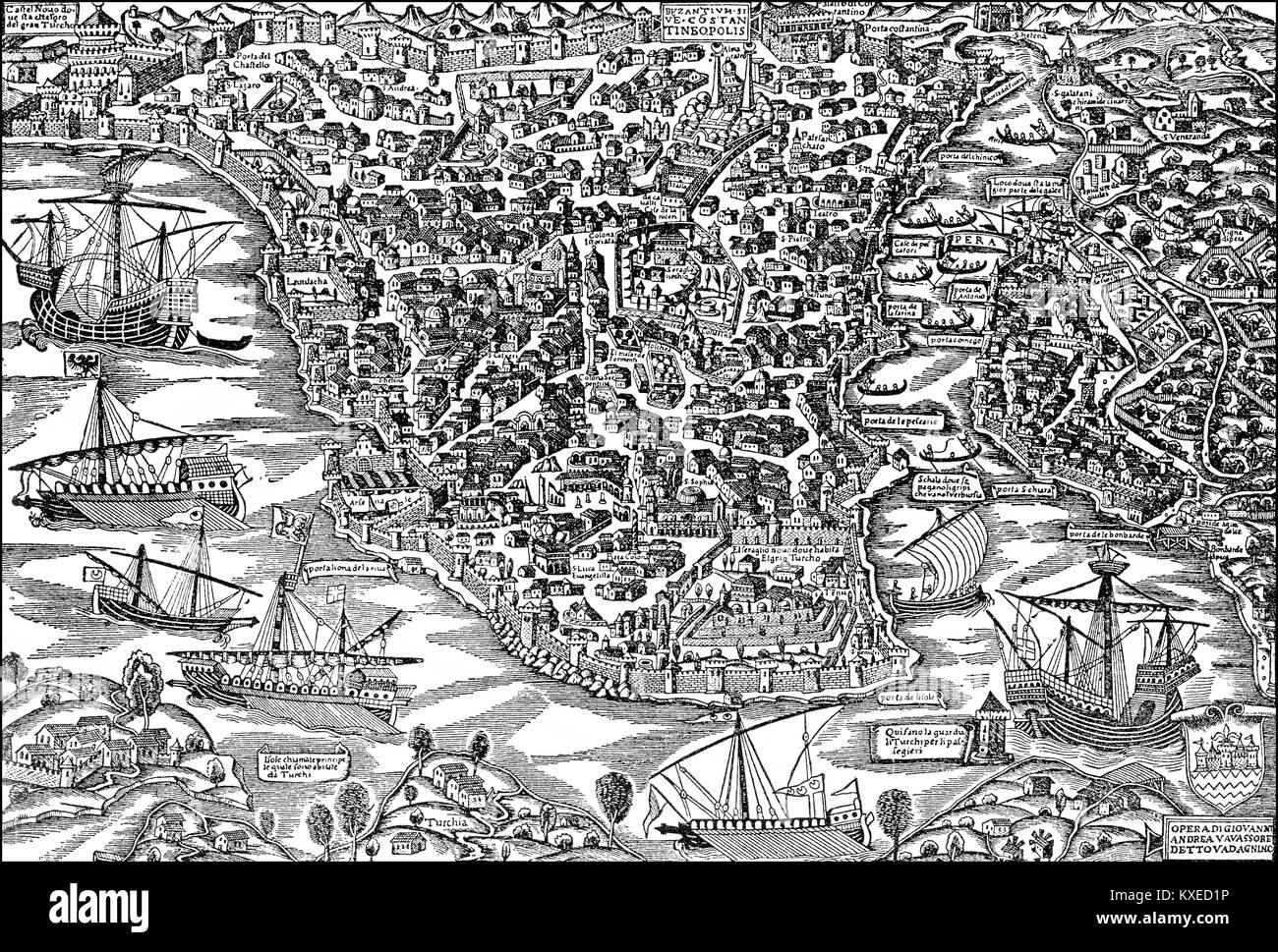 Cityscape of Constantinople, 1520 - Stock Image
