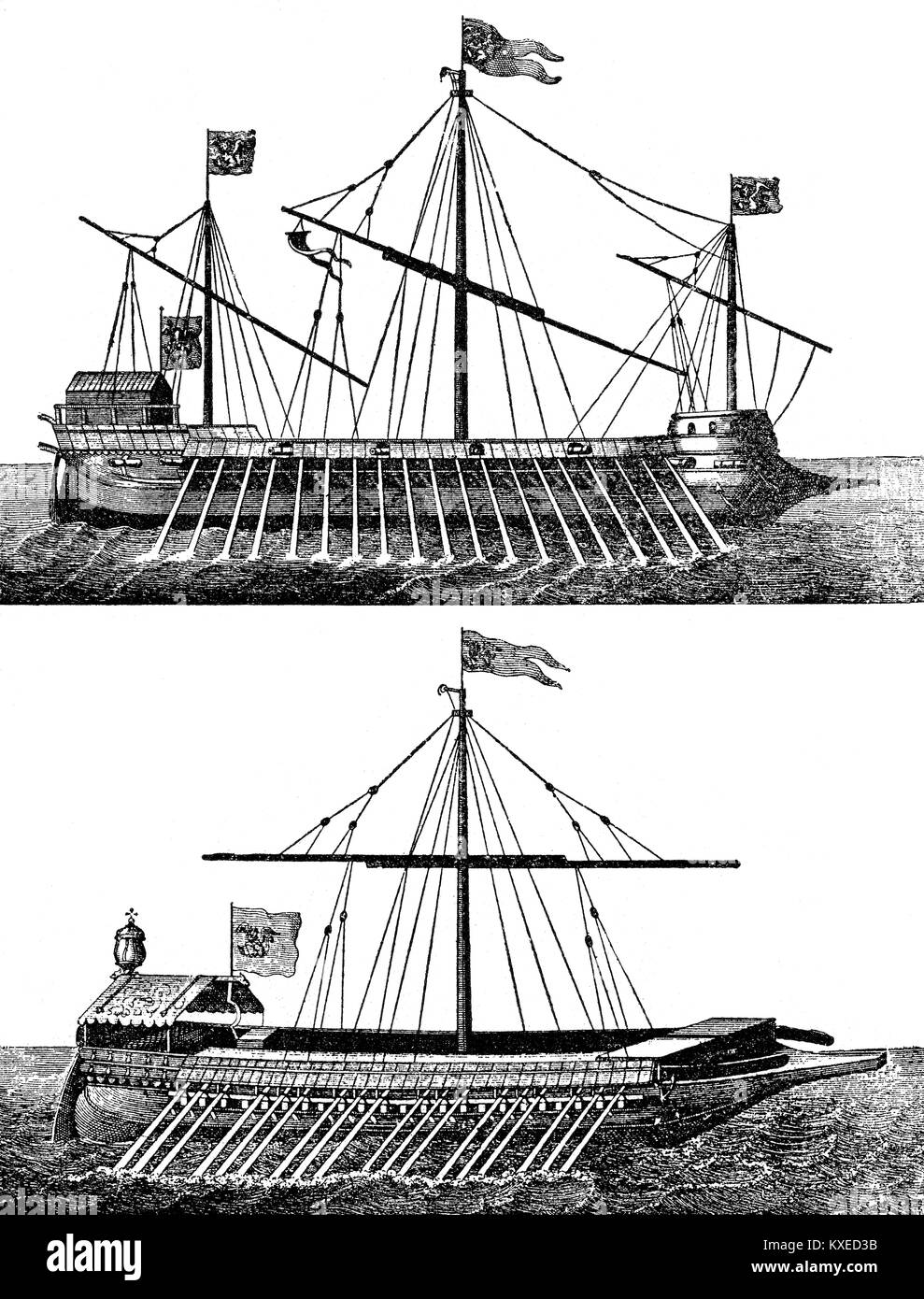 Venetian galleys used at the Battle of Lepanto, 16th century Stock Photo