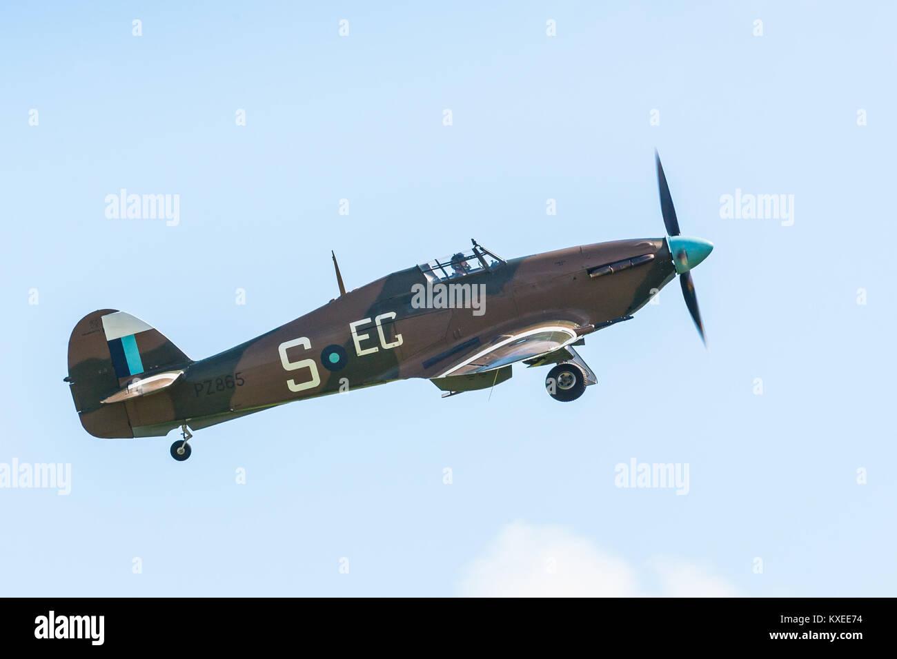 Hurricane PZ865 (Mk IIc) Battle of Britain 75th anniversary at Goodwood (RAF Westhampnett) - Stock Image
