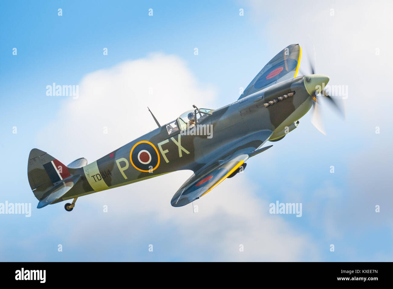 Spitfire HF Mk.IXe. Battle of Britain 75th anniversary at Goodwood (RAF Westhampnett) - Stock Image