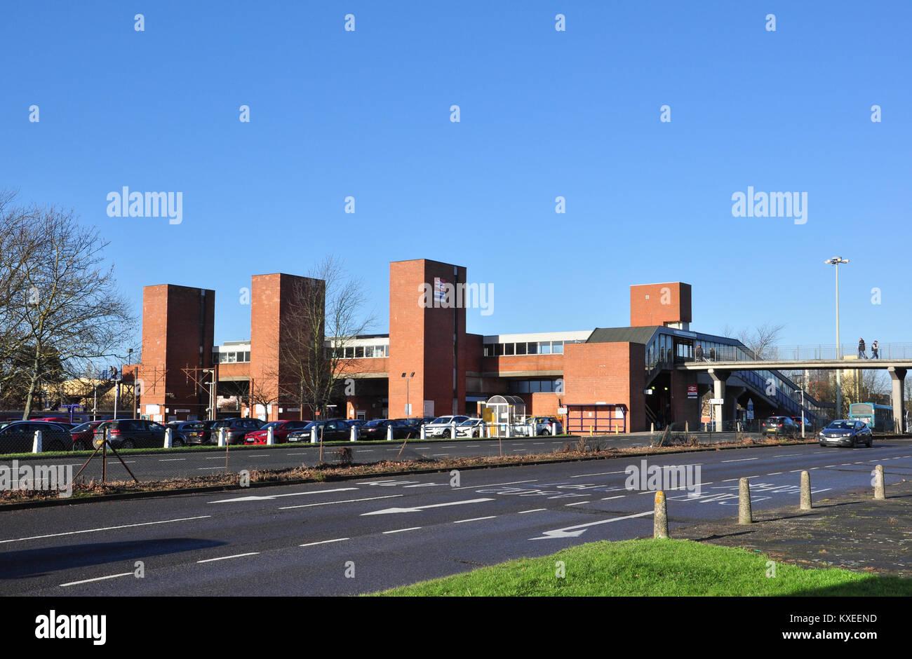 Red brick railway station exterior, Lytton Way, Stevenage, Hertfordshire, England, UK - Stock Image