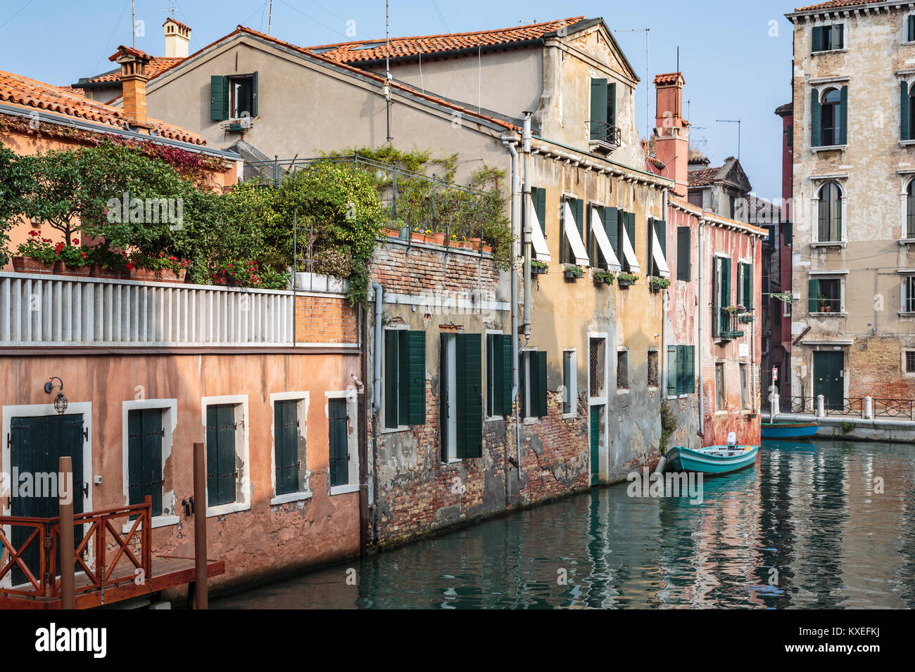 A scene along the Grand Canal in Veneto, Venice, Italy, Europe, - Stock Image