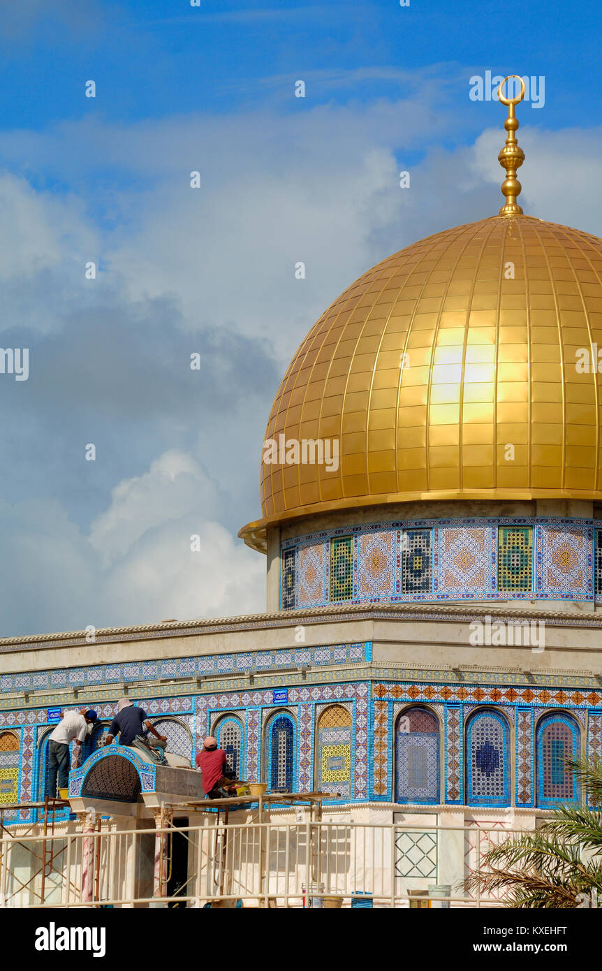 Scale Model or Replica of the Dome of the Rock Islamic Shrine, Jerusalem, at the Islamic Civilisation Theme Park - Stock Image