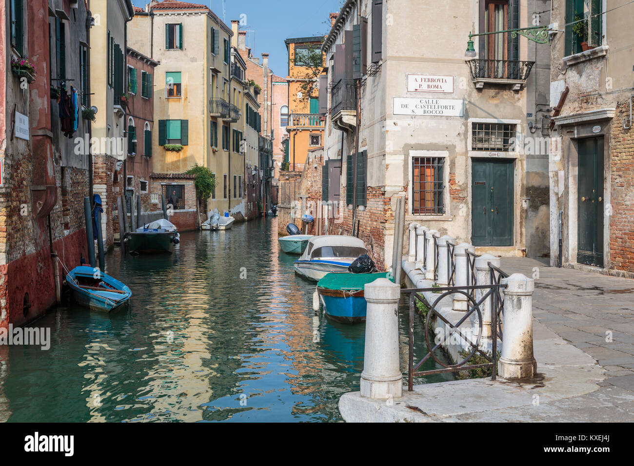 A small canal in Veneto, Venice, Italy, Europe, - Stock Image