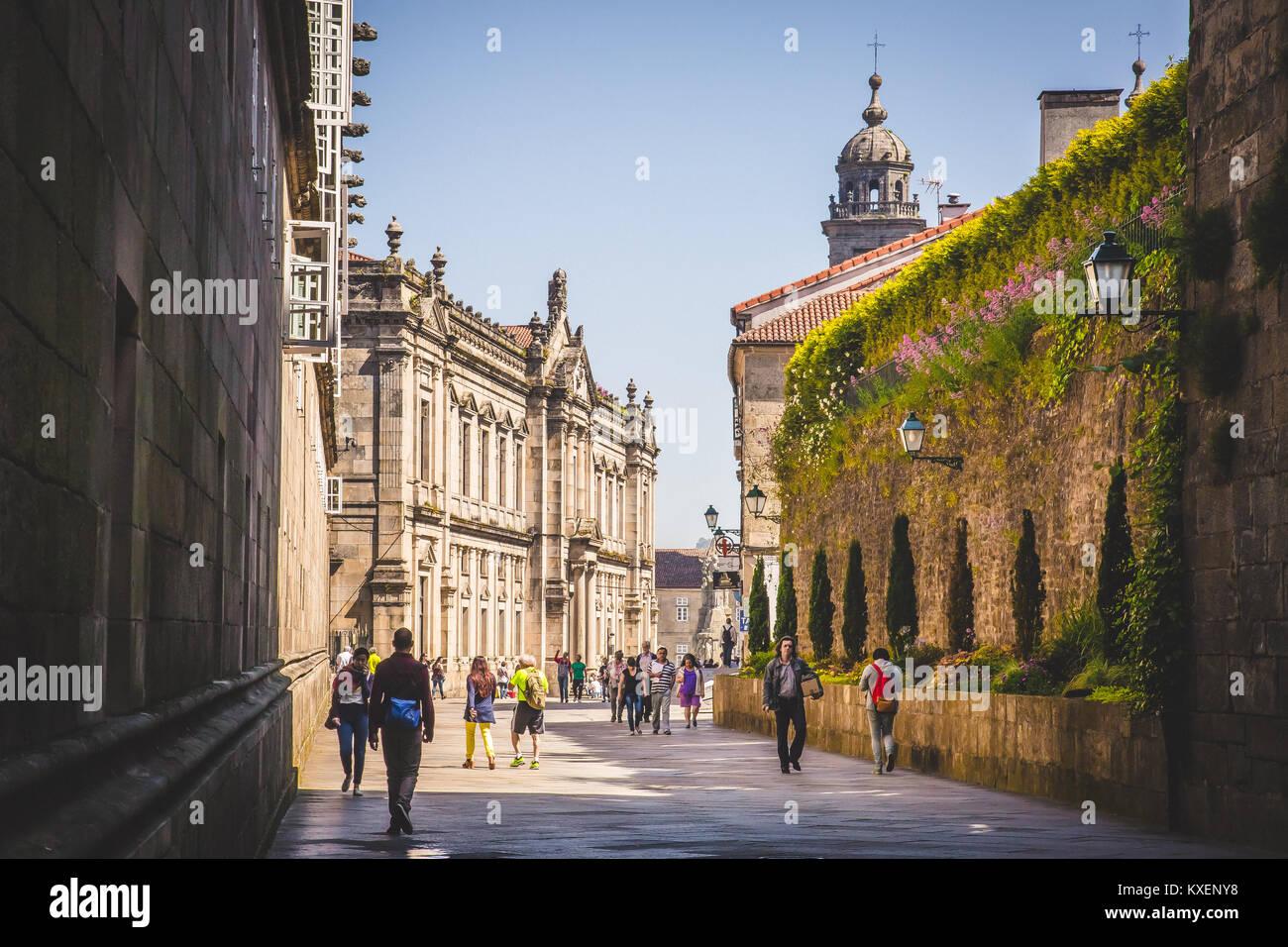 Monument and street of Santiago de Compostela. Spain - Stock Image