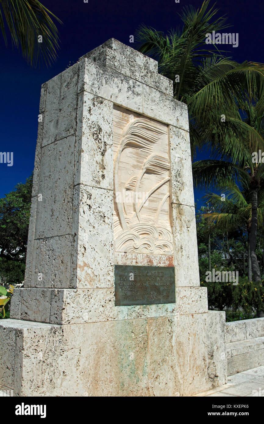 Florida Keys Monument 1935 Labor Day Hurricane Stock Photo