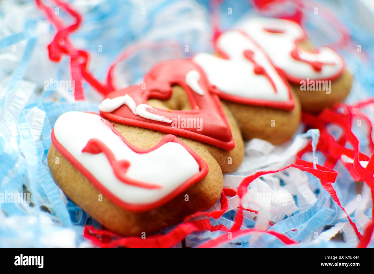 Letter cookies for Valentine\'s day or for a wedding day on the blue ...