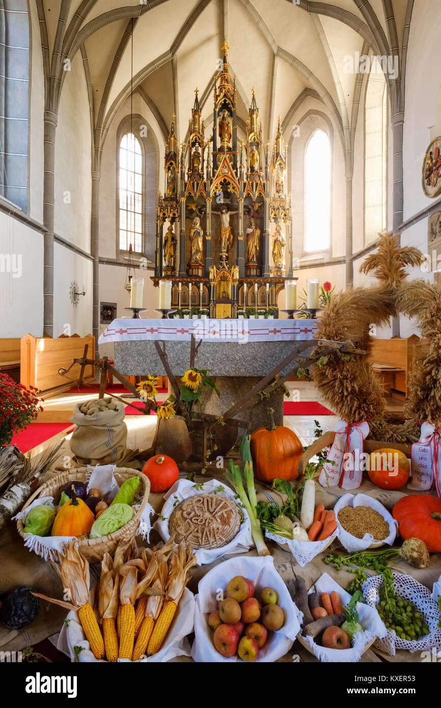 Decorated altar for thanksgiving,parish church St.Blasius,Kellberg near Thyrnau,Bavarian Forest,Lower Bavaria,Bavaria - Stock Image