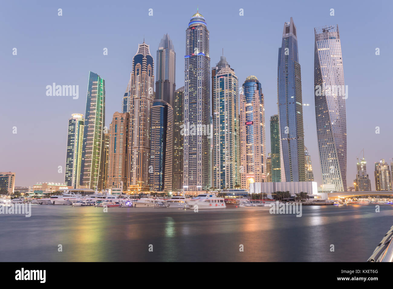 The futuristic skyline of skyscrapers in Dubai Marina, United Arab Emirates. - Stock Image