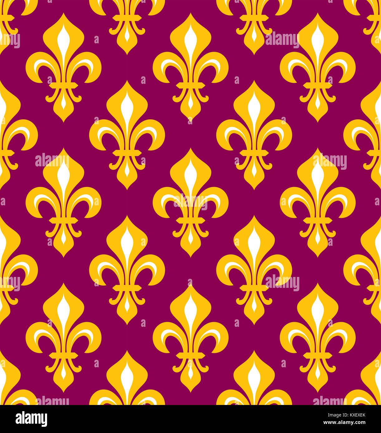 Royal Heraldic Lilies Fleur De Lis Purple And Gold Seamless