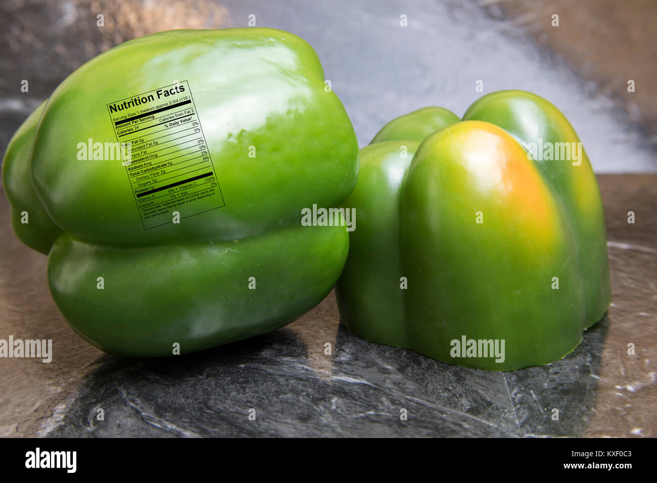 Fresh Whole Sweet Green Peppers On Black Tile With Nutrition Label Stock Photo 171203987 Alamy