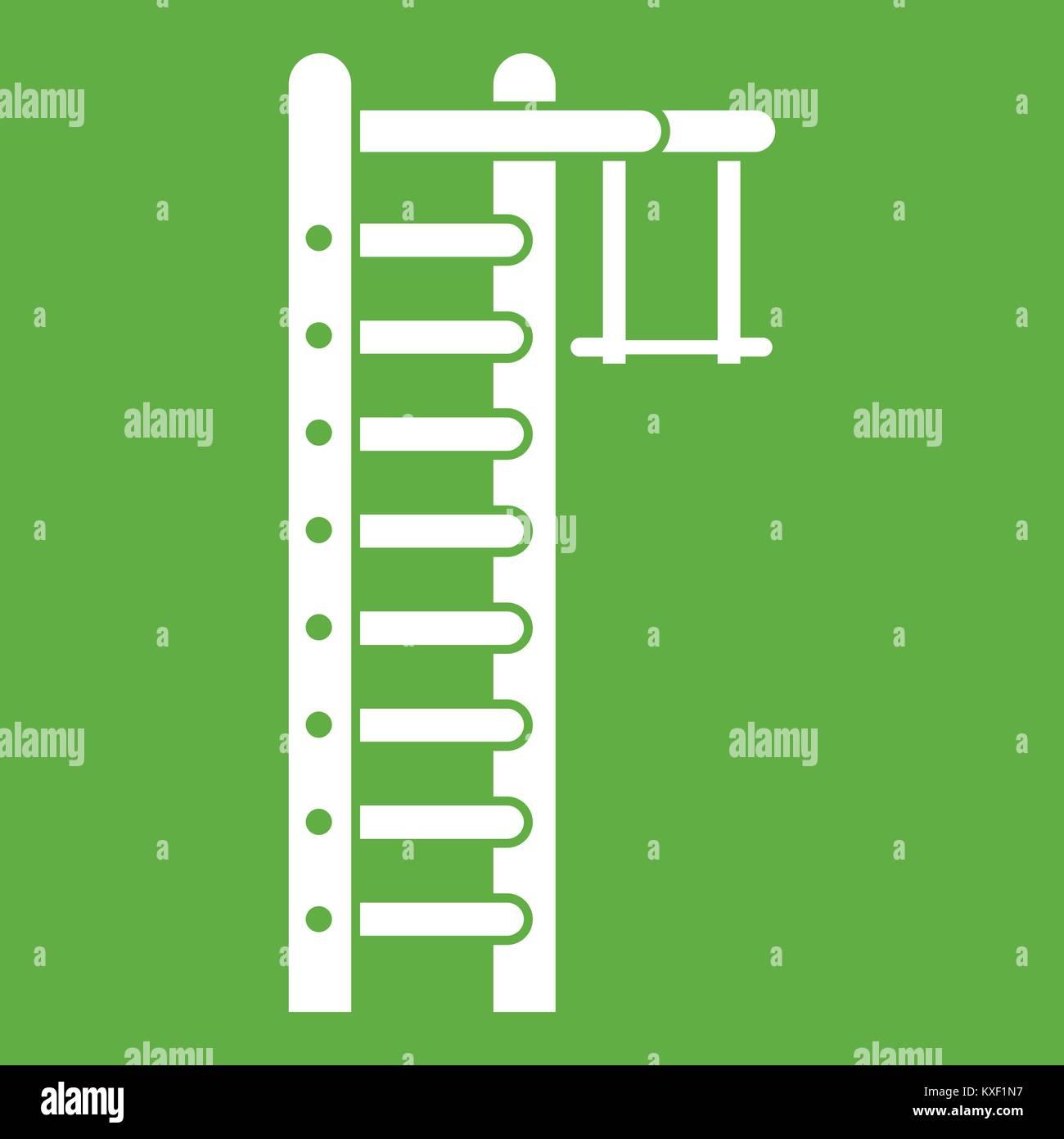 Swedish ladder icon green - Stock Image