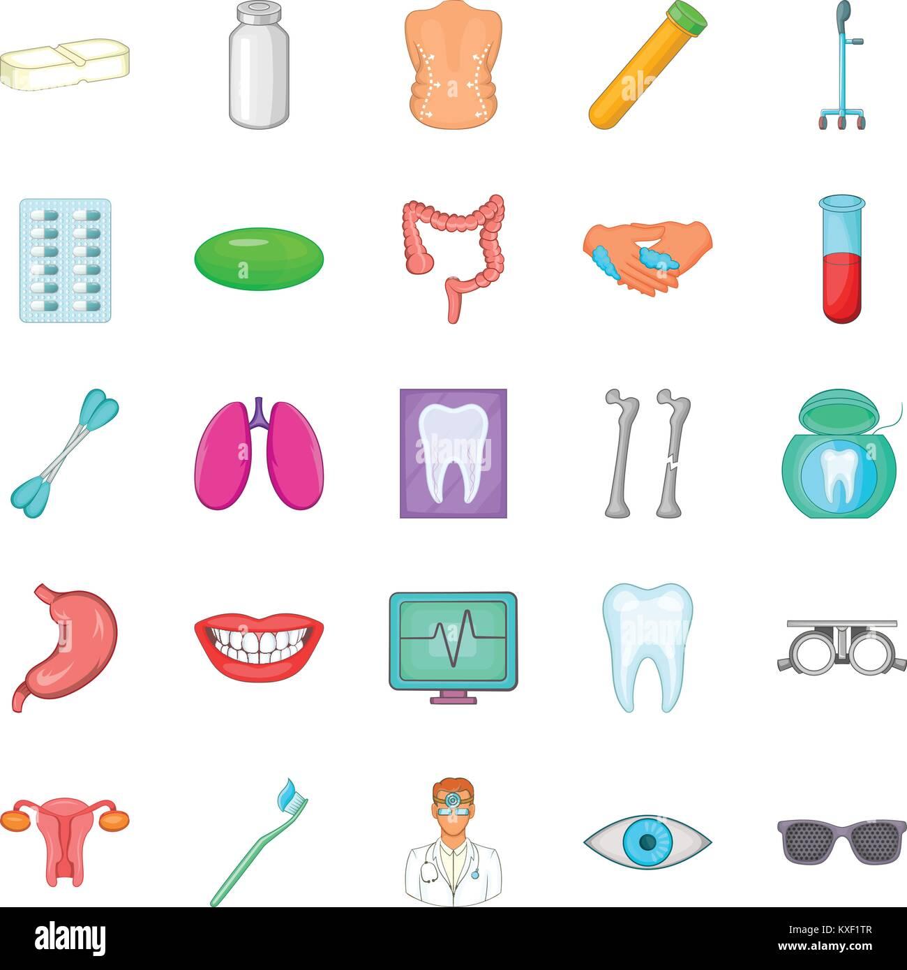 Malady icons set, cartoon style - Stock Image