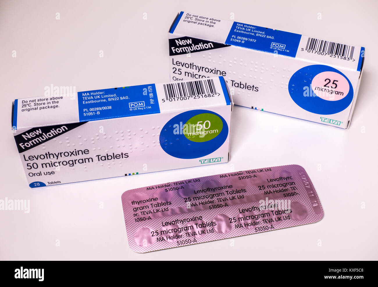 Levothyroxine medication (hormone replacement tablets) to treat an underactive thyroid gland - also called low thyroid - Stock Image