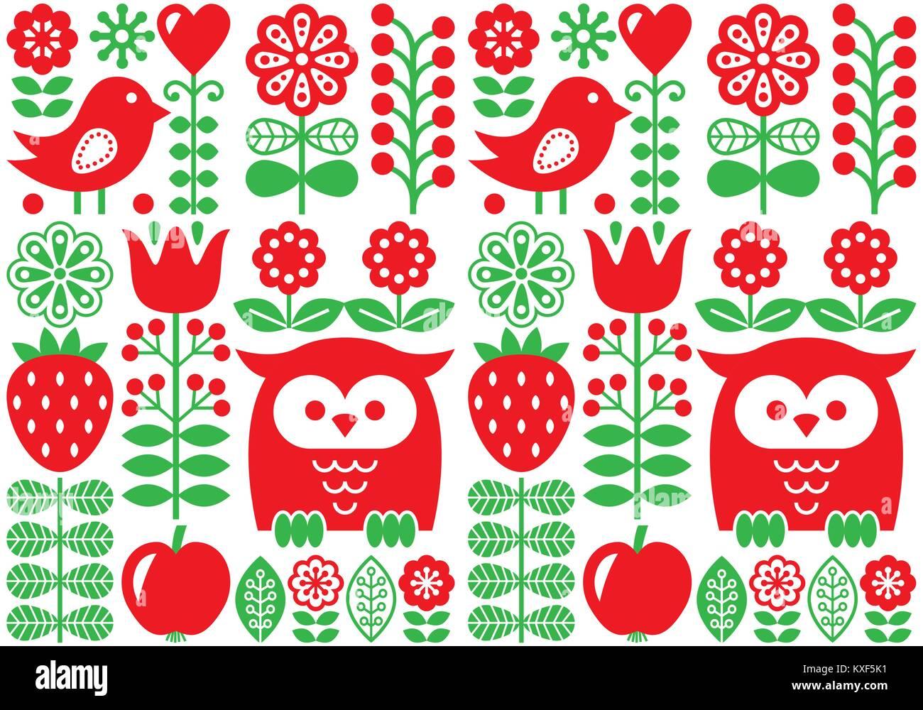 Finnish inspired seamless vector folk art pattern - Scandinavian design, Nordic wallpaper with flowers and birds - Stock Vector