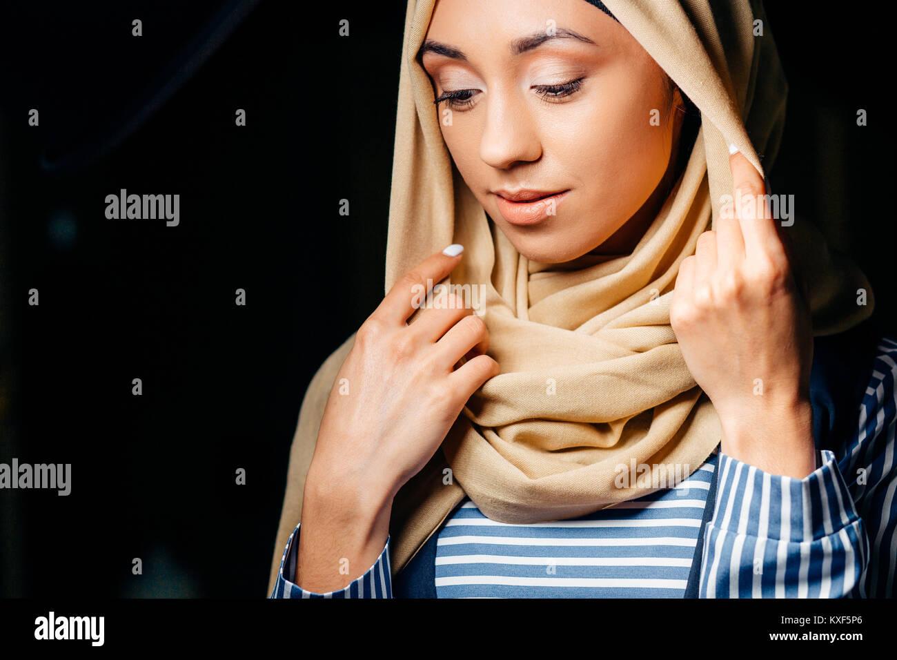 pretty muslim girl in hijab in cafe Stock Photo