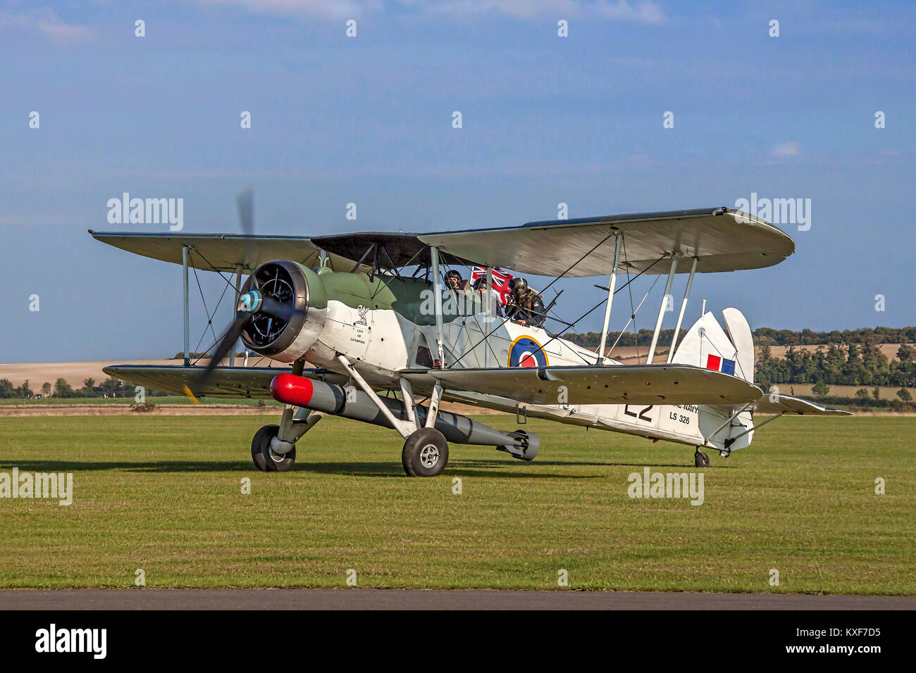 The Royal Navy Historic Flight's 1943 Swordfish II LS326/G-AJVH  'City of Liverpool' taxying in after - Stock Image