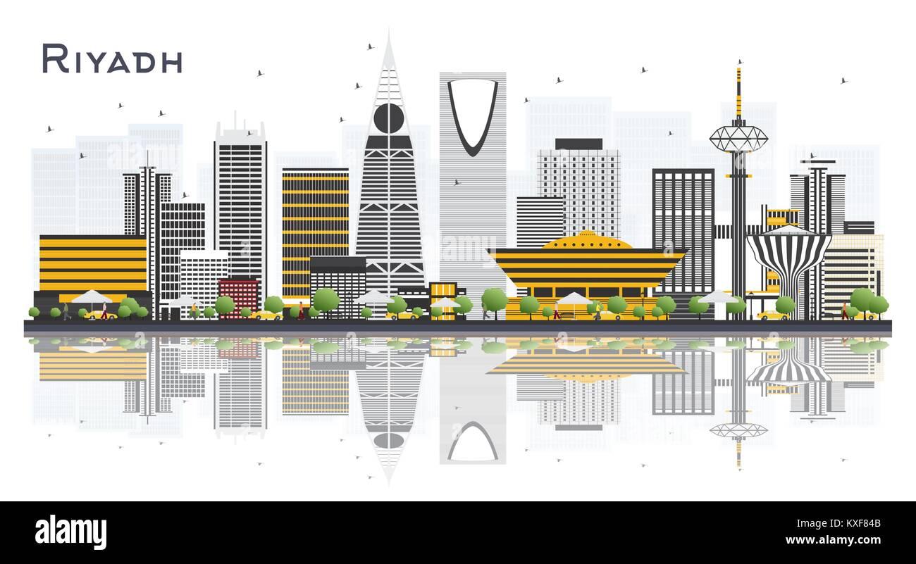 Riyadh Saudi Arabia City Skyline with Gray Buildings Isolated on