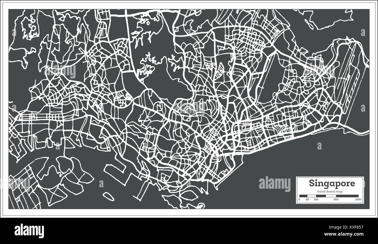 Singapore City Map in Retro Style. Outline Map. Vector Illustration. Stock Vector