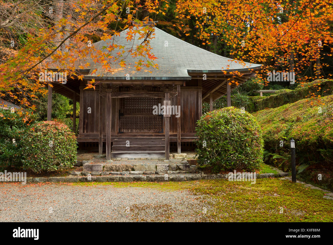 Fall leaves drape over a shrine in Ohara, Japan. - Stock Image