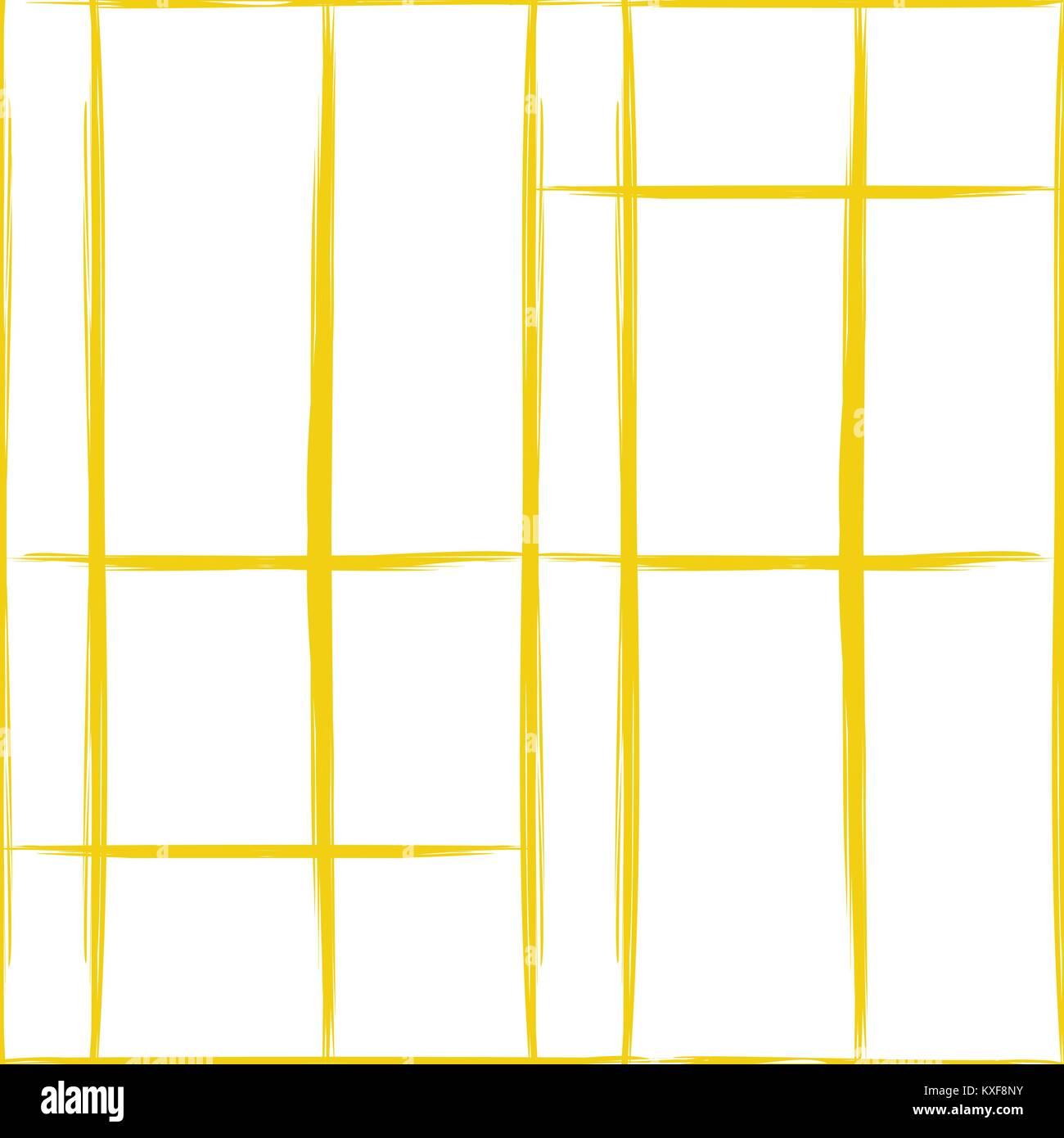 seamless pattern of irregular yellow lines on a white - Stock Image