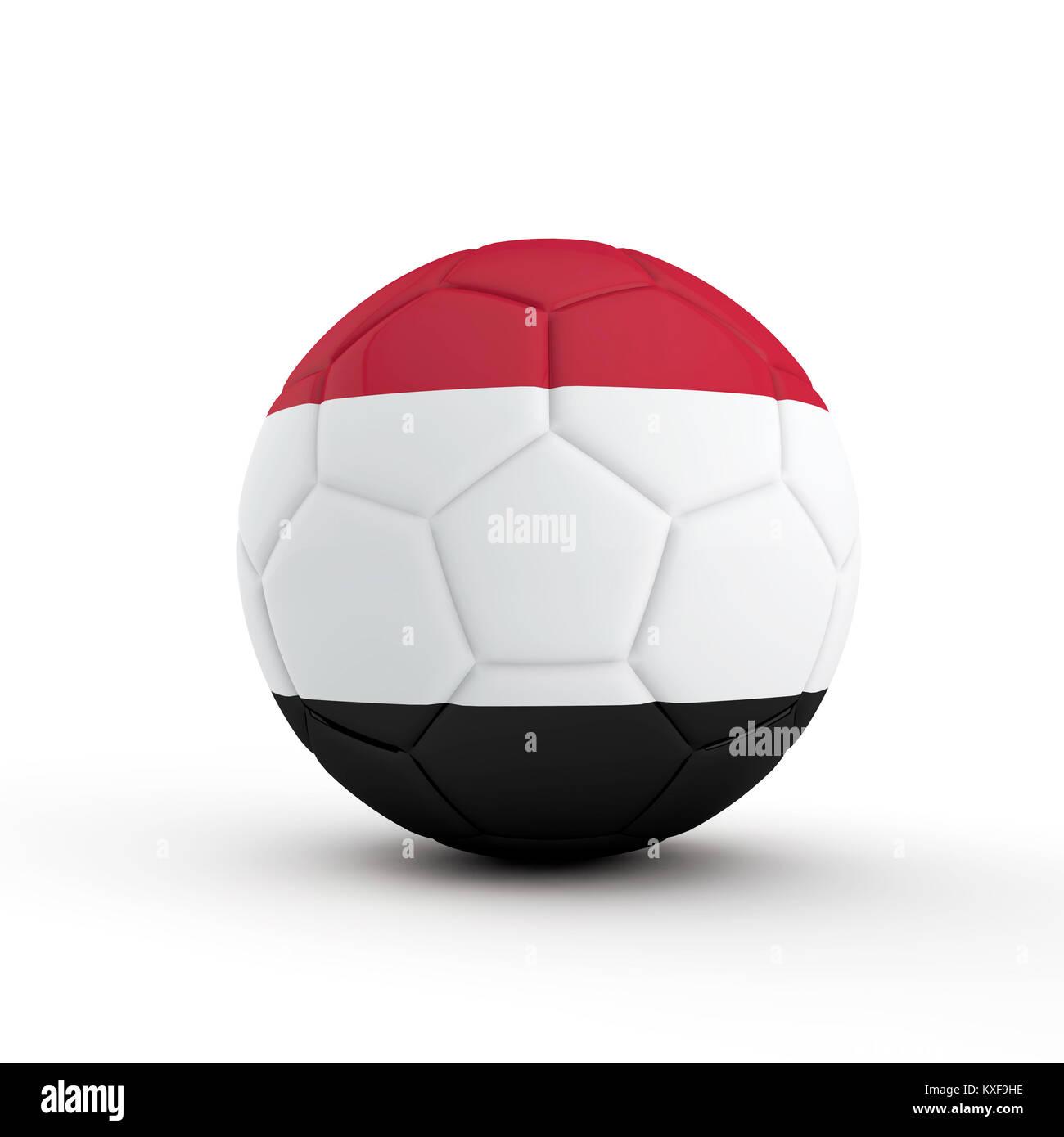 Yemen flag soccer football against a plain white background. 3D Rendering Stock Photo