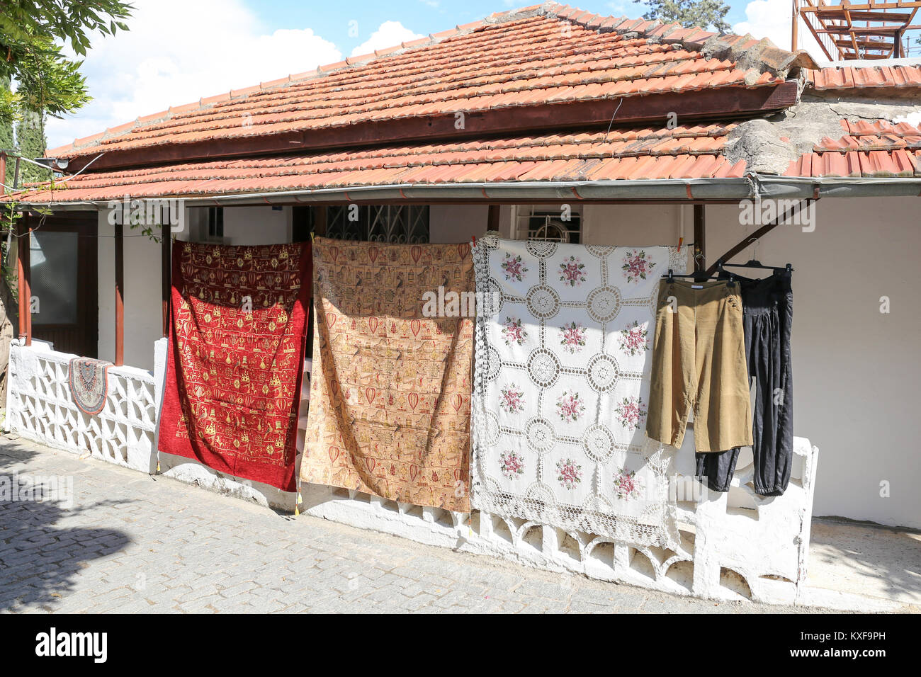 Traditional tablecloths in Alanya Castle, Antalya City, Turkey - Stock Image