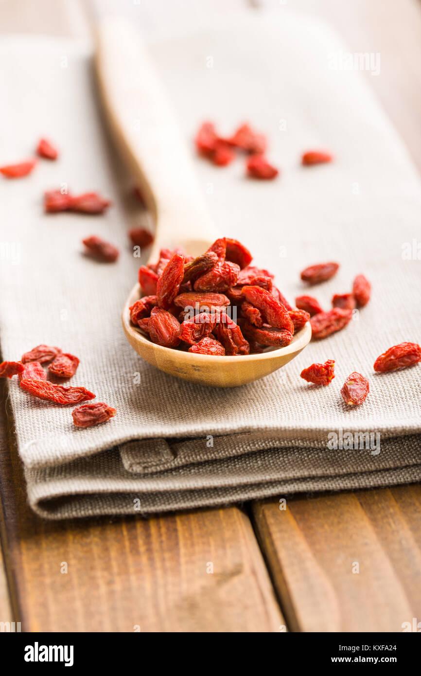 Dried goji berries in wooden spoon Stock Photo: 171211548 - Alamy