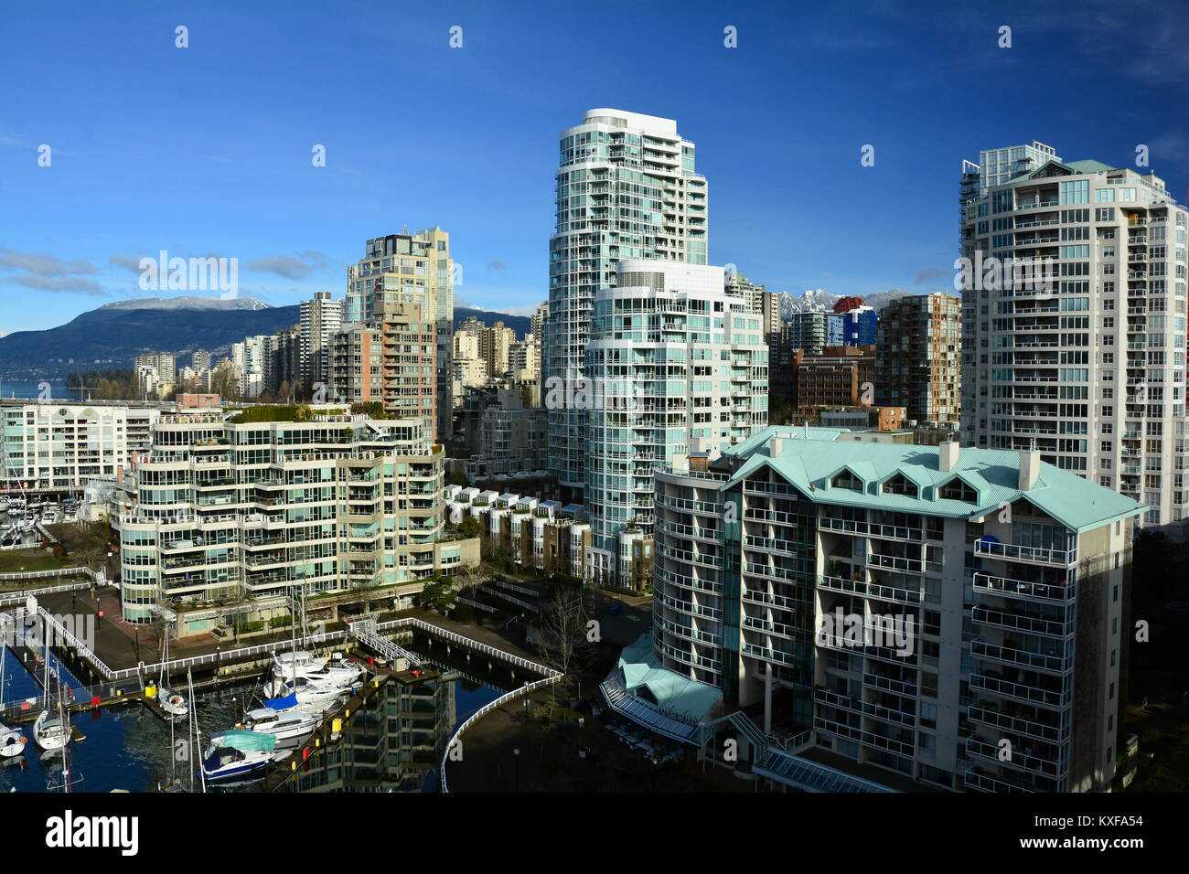 Luxury condos and high rises in False Creek in Vancouver BC,Canada. - Stock Image