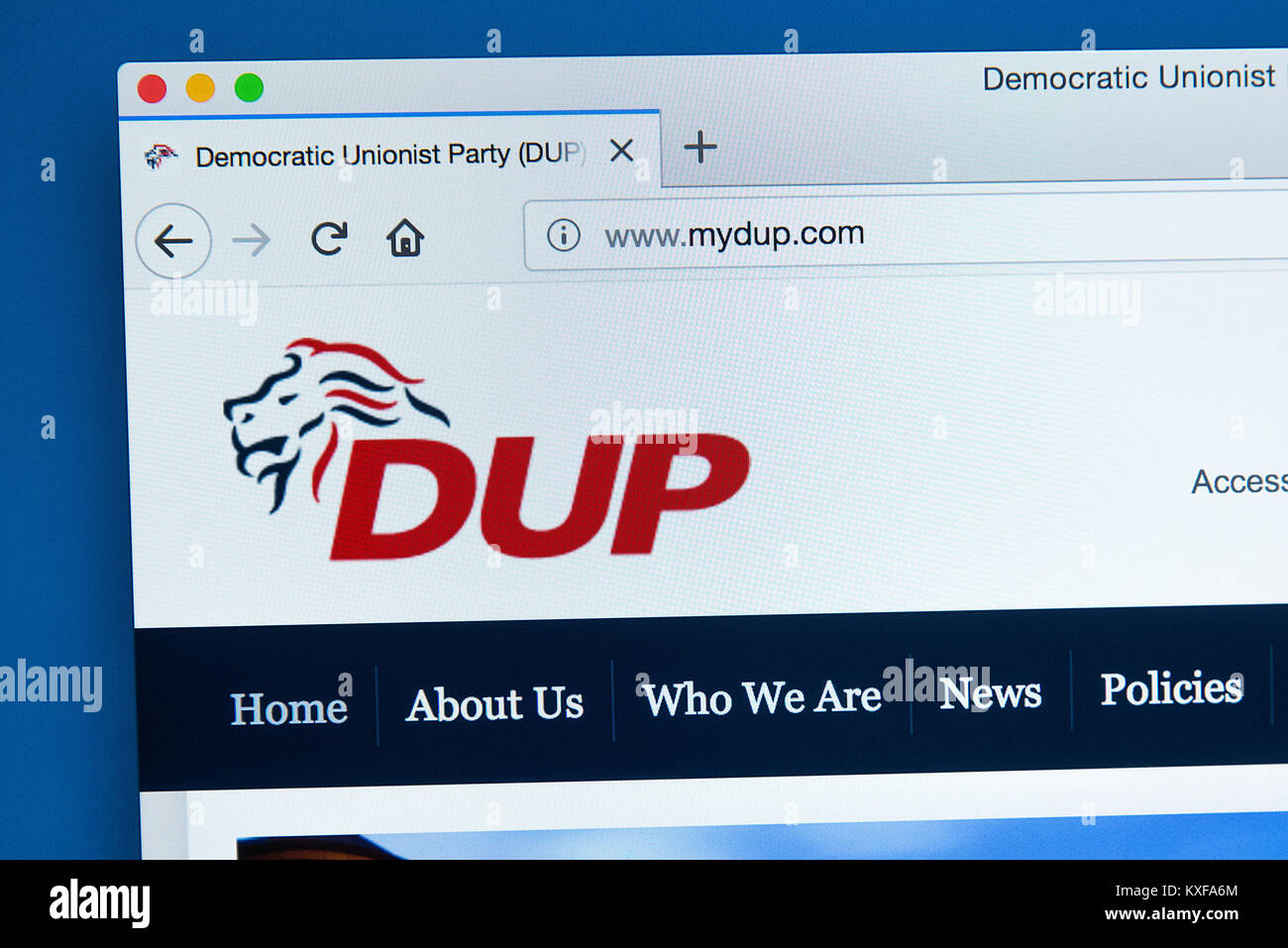 LONDON, UK - JANUARY 4TH 2018: The homepage of the official website for the Democratic Unionist Party - a unionist - Stock Image