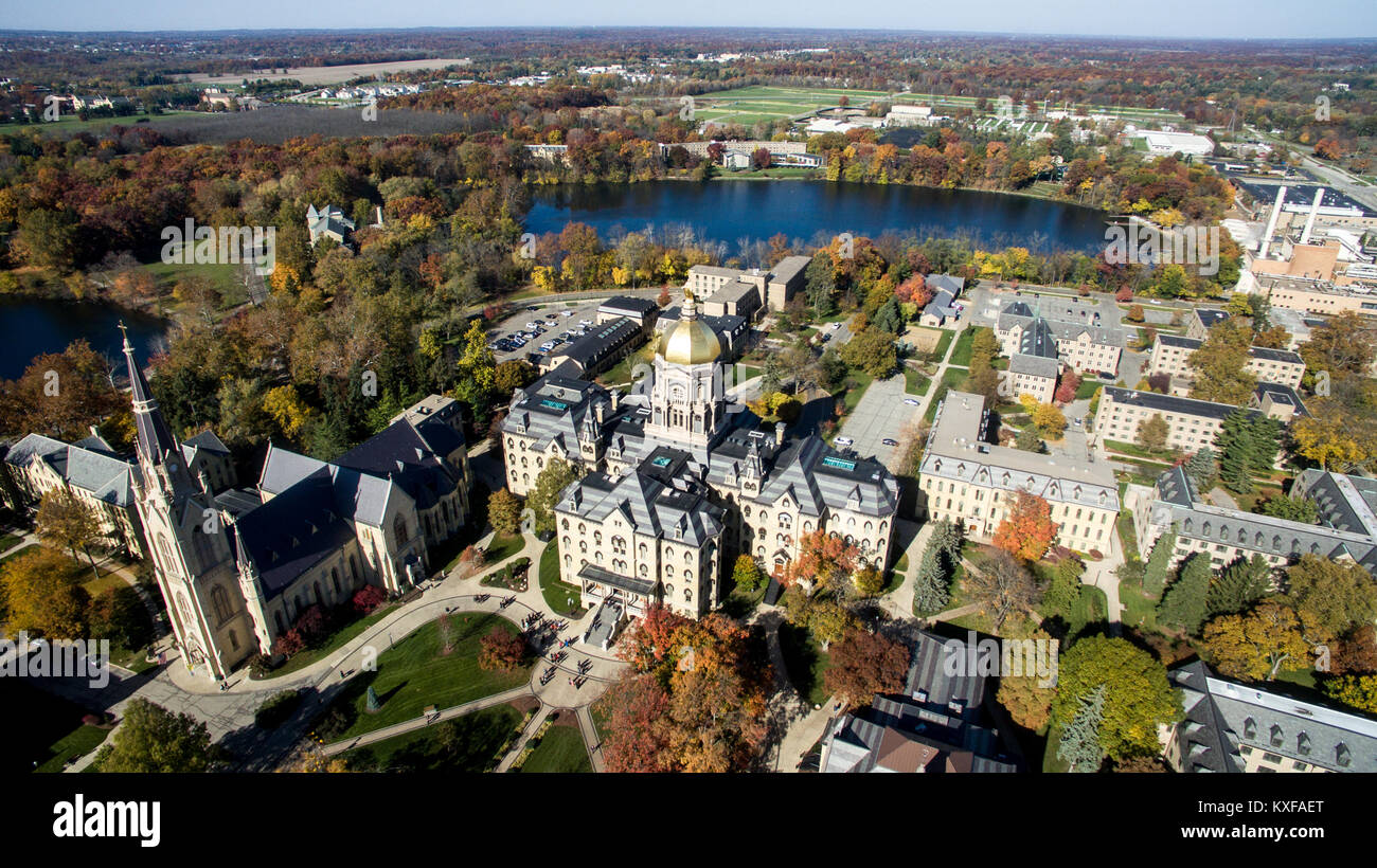 Aerial and drone shot of Notre Dame University campus in South Bend Indiana - Stock Image