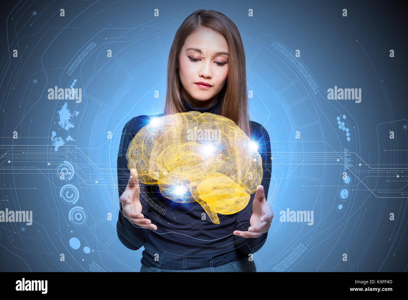 AI(Artificial Intelligence) concept, 3d rendering - Stock Image