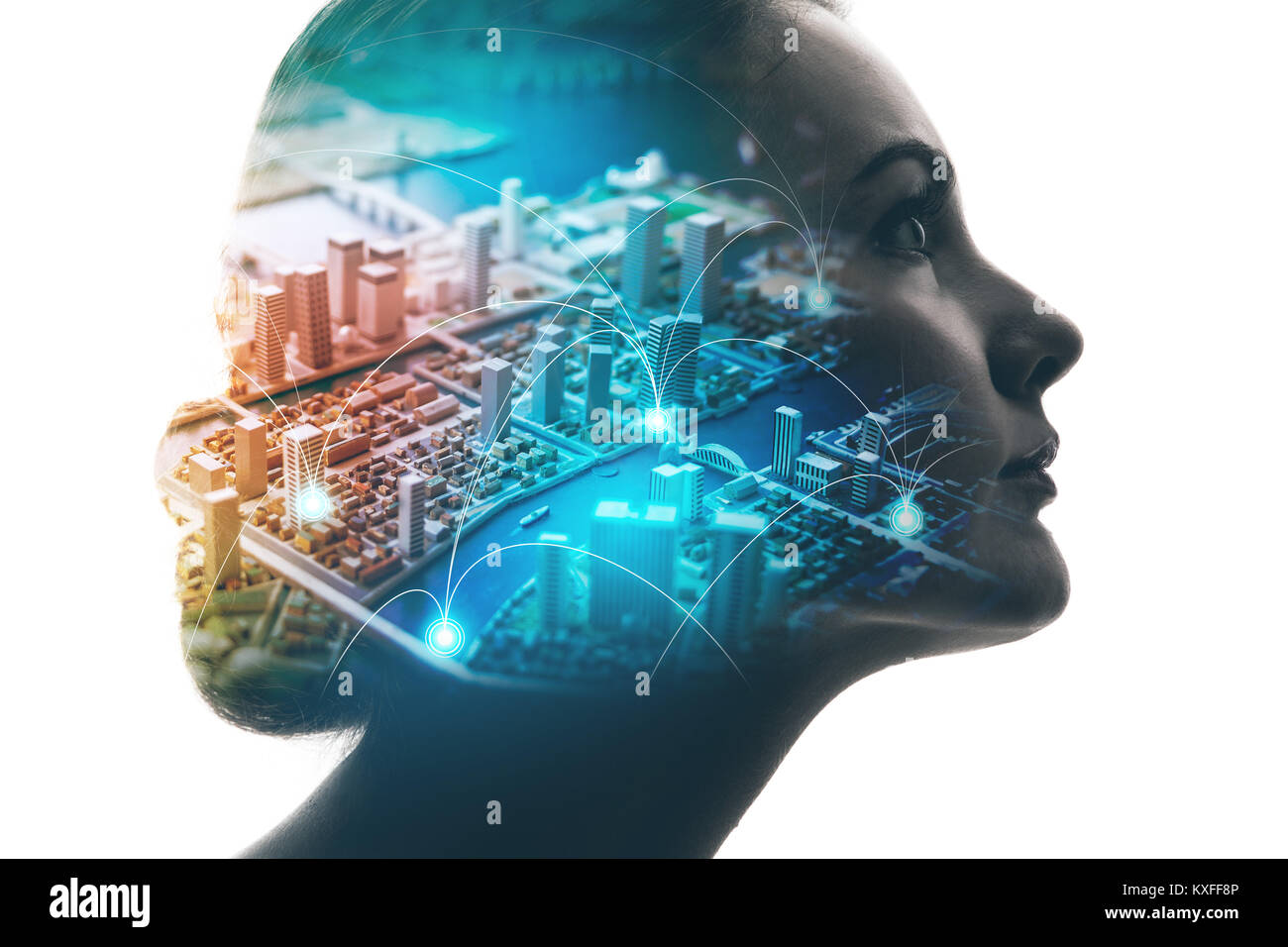 AI(Artificial Intelligence) concept. Woman profile and smart city. Mixed media. - Stock Image