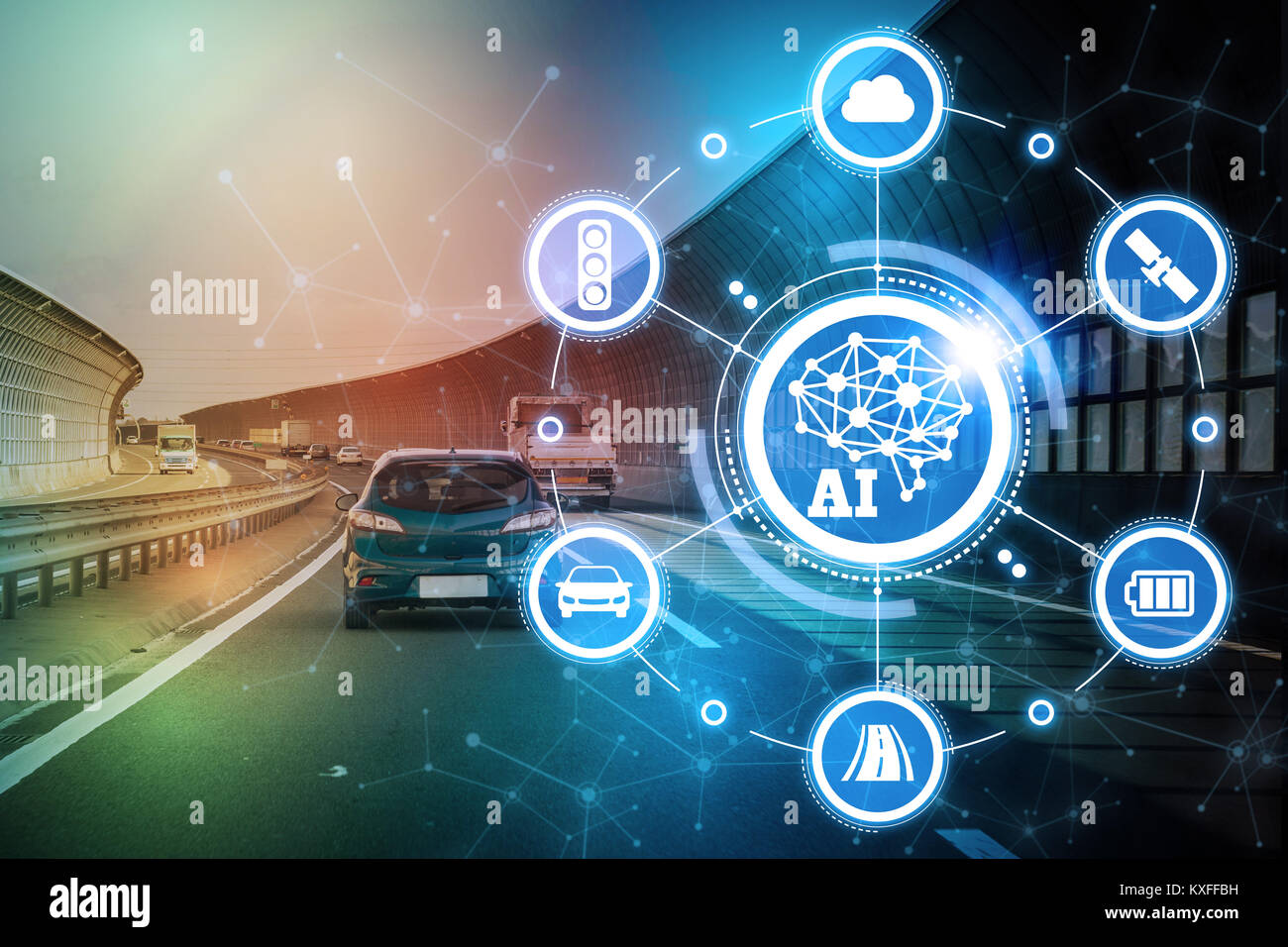 AI(Artificial Intelligence and automotive technology. Autonomous car. - Stock Image