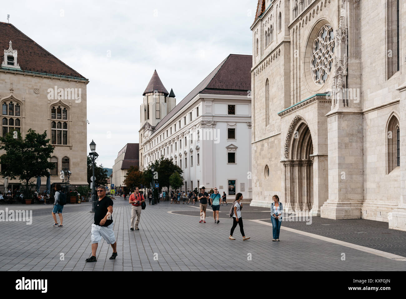 Budapest, Hungary - August 12, 2017:  Scenic view of street in the city of Buda near Mathias Church in Budapest - Stock Image