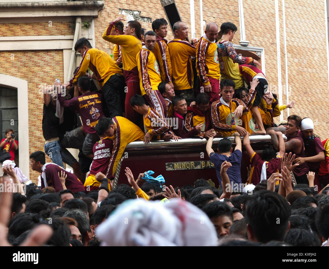 The Andas or carriage, carrying the black Nazarene slowly