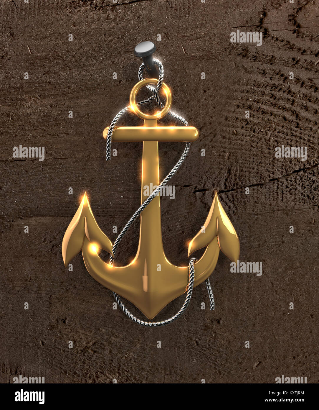 Gold Anchor Isolated On A Brown Background